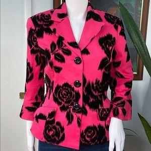 TRINA TURK hot pink blazer black roses sz 8